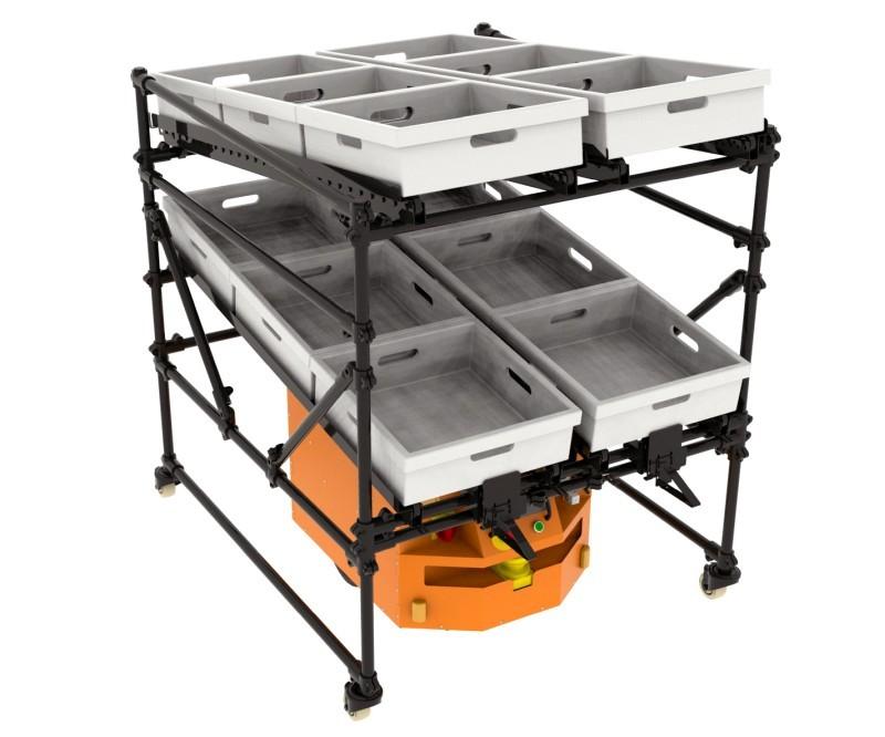 Wózek zgrawitacyjnym podajnikiem rolkowym dorobota CubeRunner