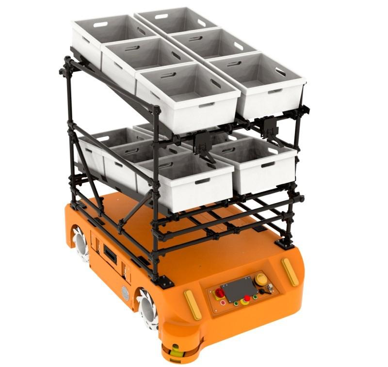 Wózek zgrawitacyjnym podajnikiem rolkowym dorobota FlatRunner MW