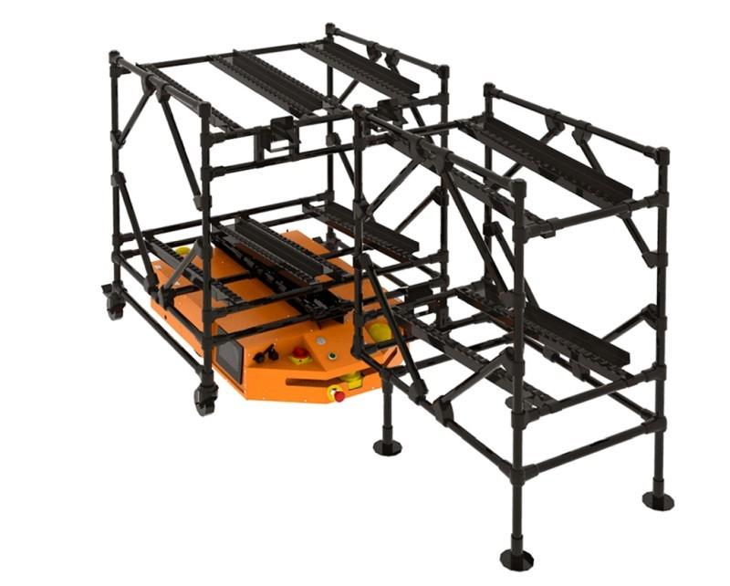Wózek zgrawitacyjnym podajnikiem rolkowym dorobota FlatRunner